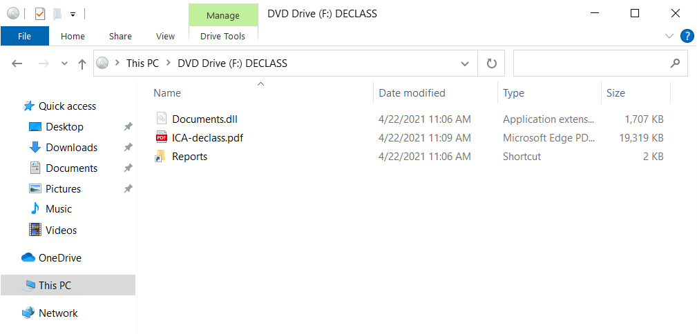 """ISO file contents with hidden """"Documents.dll"""" inside."""