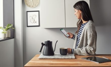 Woman working in Excel on Android phone inside in the kitchen.