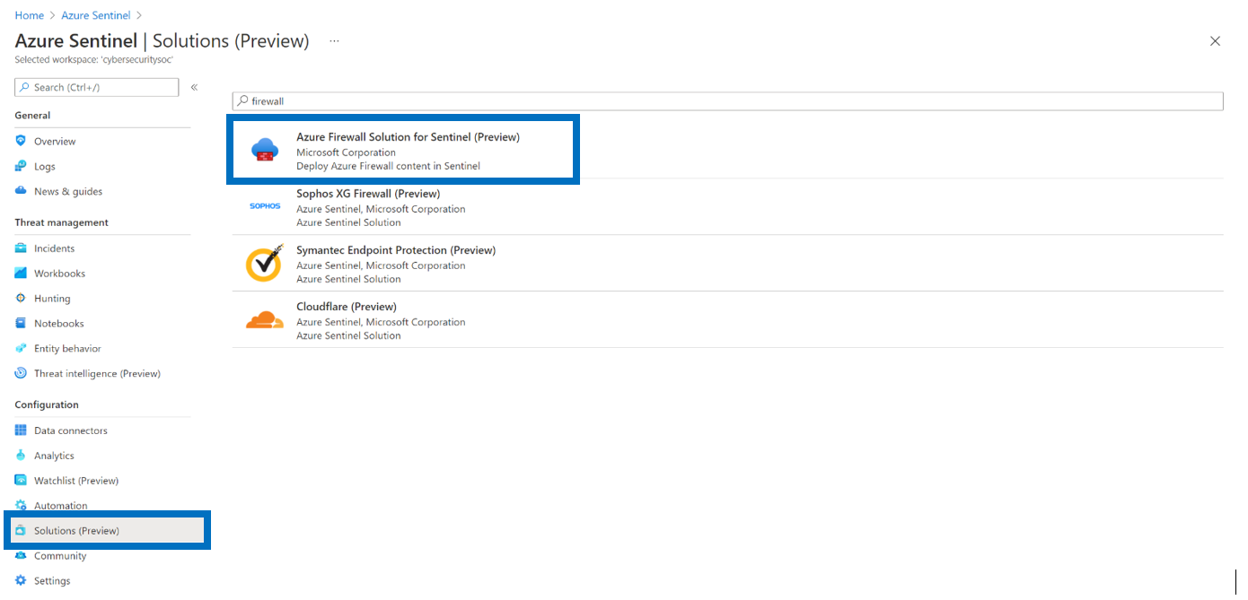The Azure Firewall solution as displayed in Azure Sentinel portal UI in the solution section.