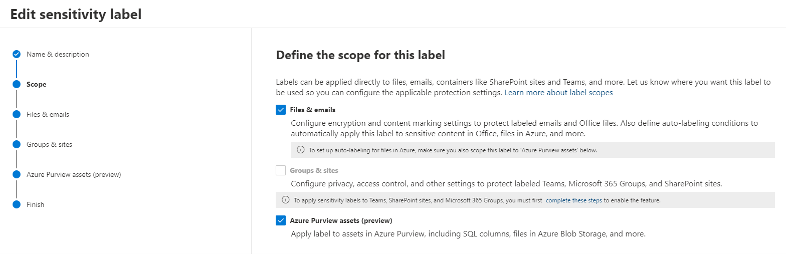 The sensitive information types and sensitivity labels are made available to Azure Purview from the Microsoft 365 Compliance Center, the same place the Microsoft Information Protection rules are managed, creating a unified experience for the administrators.