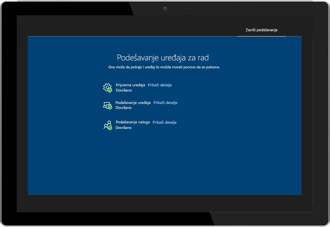 Slika tablet računara koji prikazuje stranicu sa statusom za Windows AutoPilot upisnicu