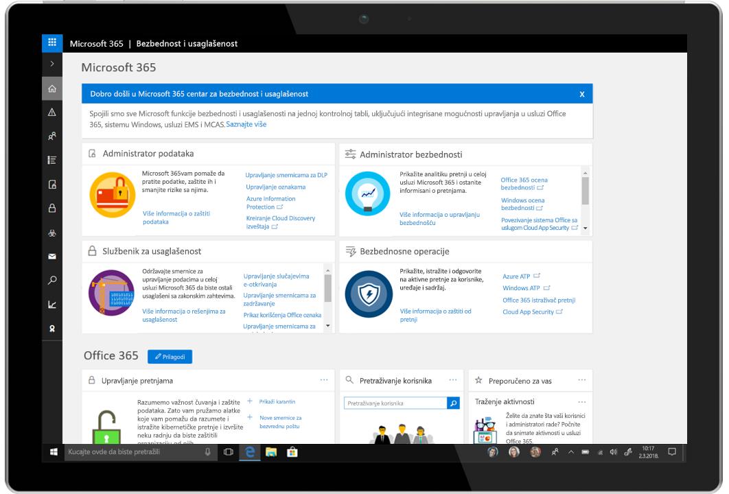 Slika tablet računara koji prikazuje Microsoft 365 centar za bezbednost i usaglašenost.