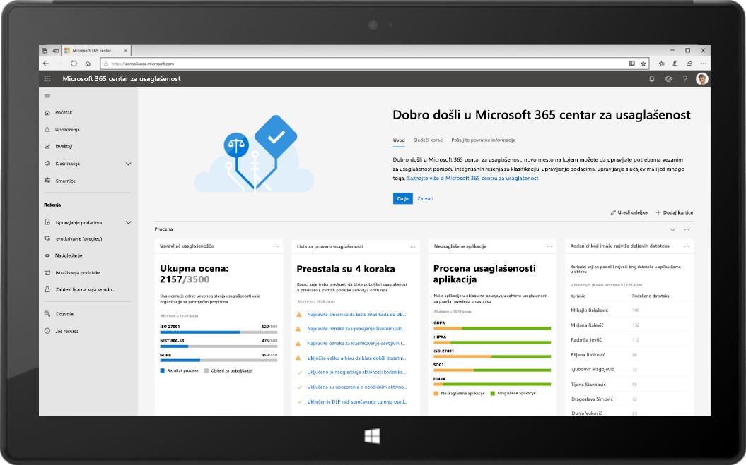 Slika tableta koji prikazuje novi Microsoft 365 centar za usaglašenost.