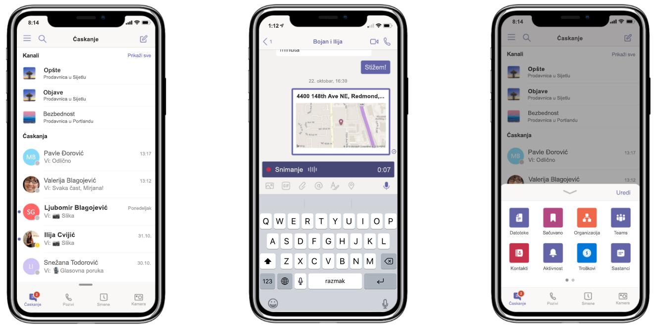 Slika tri telefona koja prikazuje ćaskanje i snimanje poziva u usluzi Microsoft Teams.