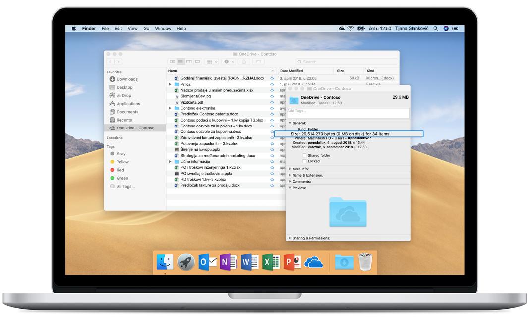 Slika Mac računara koji prikazuje OneDrive datoteke na zahtev.