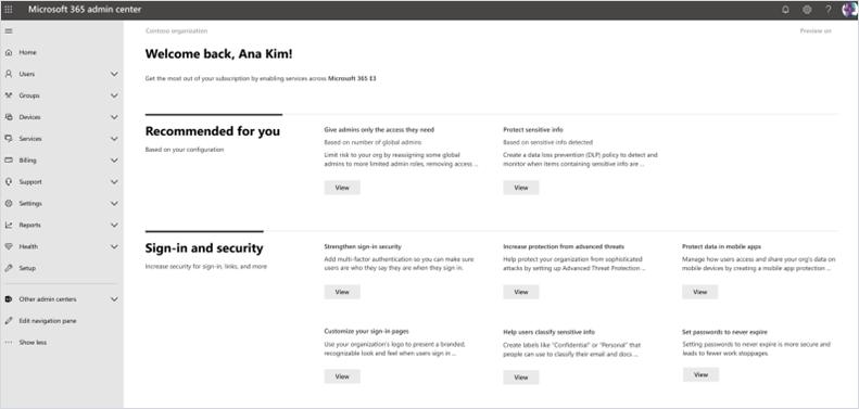 Snimak ekrana sa čvorištem za uvođenje u Centru za administratore okruženja Microsoft 365.