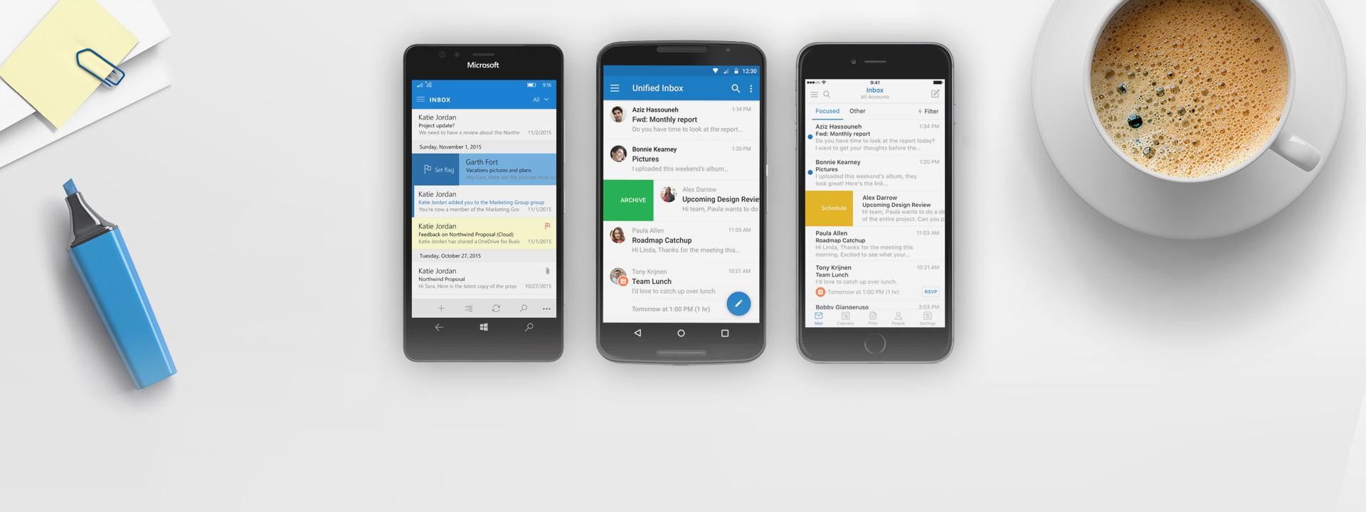 Windows Phone, iPhone och Android-telefon med skärm som visar Outlook-appen