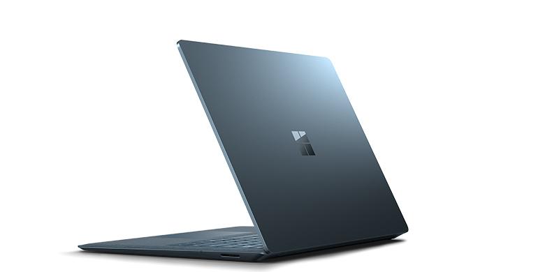 Vy bakifrån av Surface Laptop i koboltblått