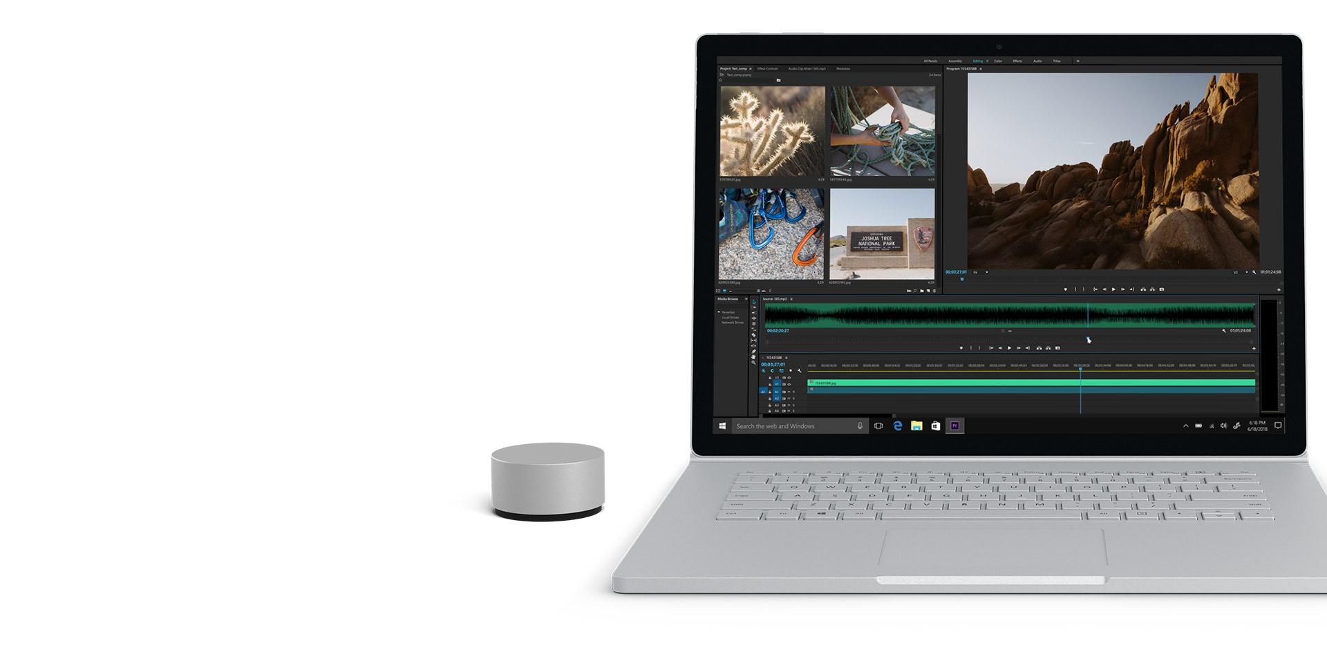 Adobe Premiere Pro på en Surface Book 2-skärm