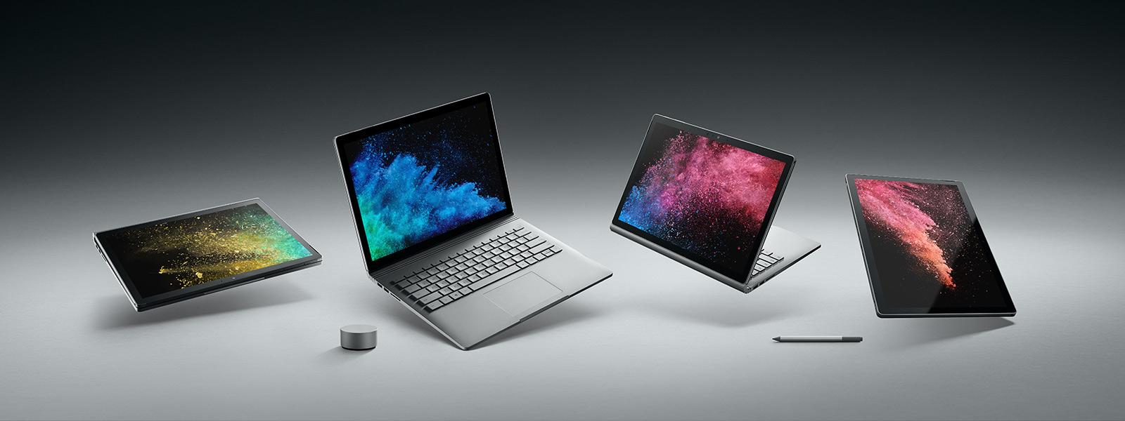 Surface Book 2 i olika lägen, med Surface Dial och Surface-penn.