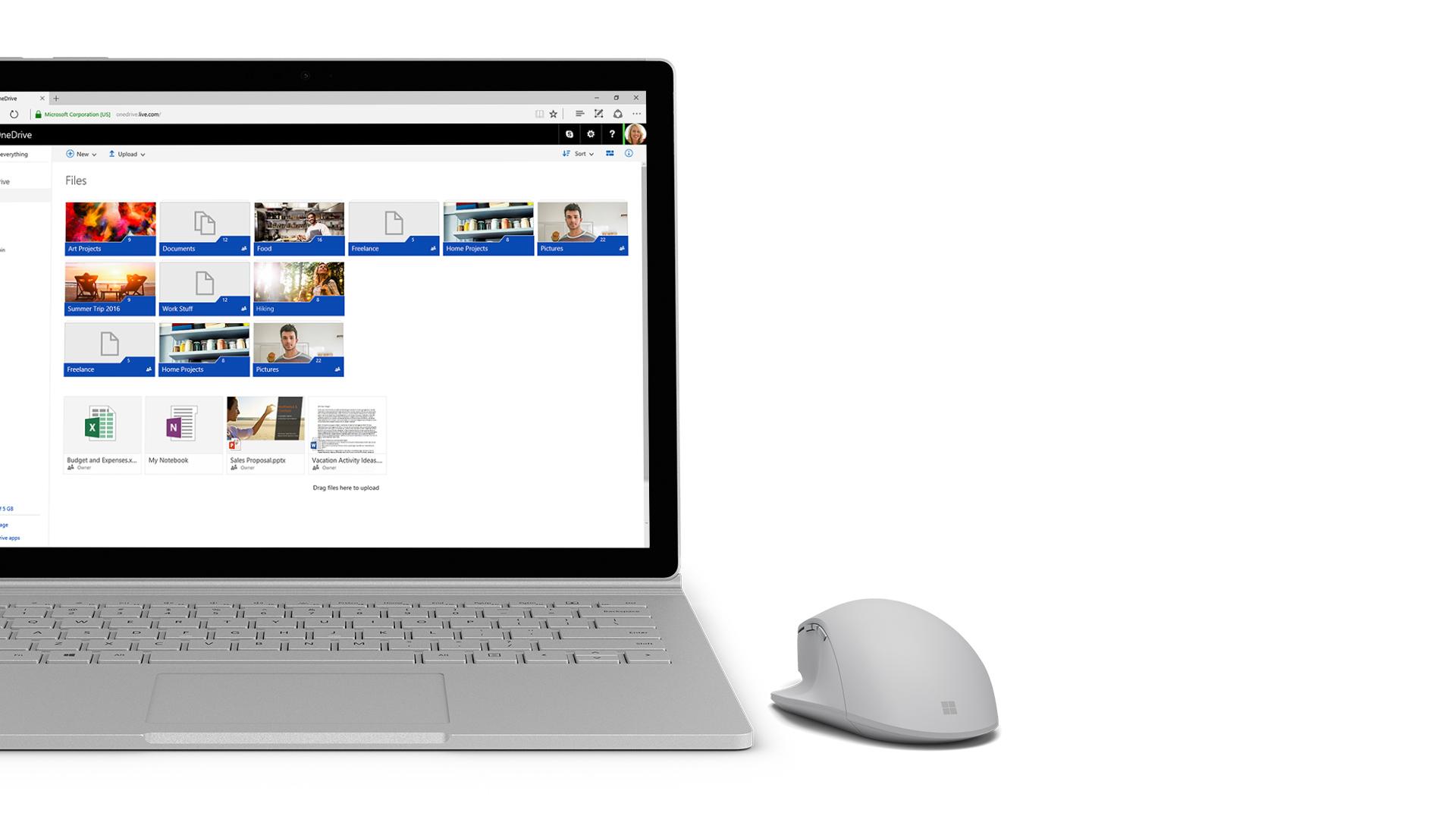 OneDrive-skärmbild på Surface.