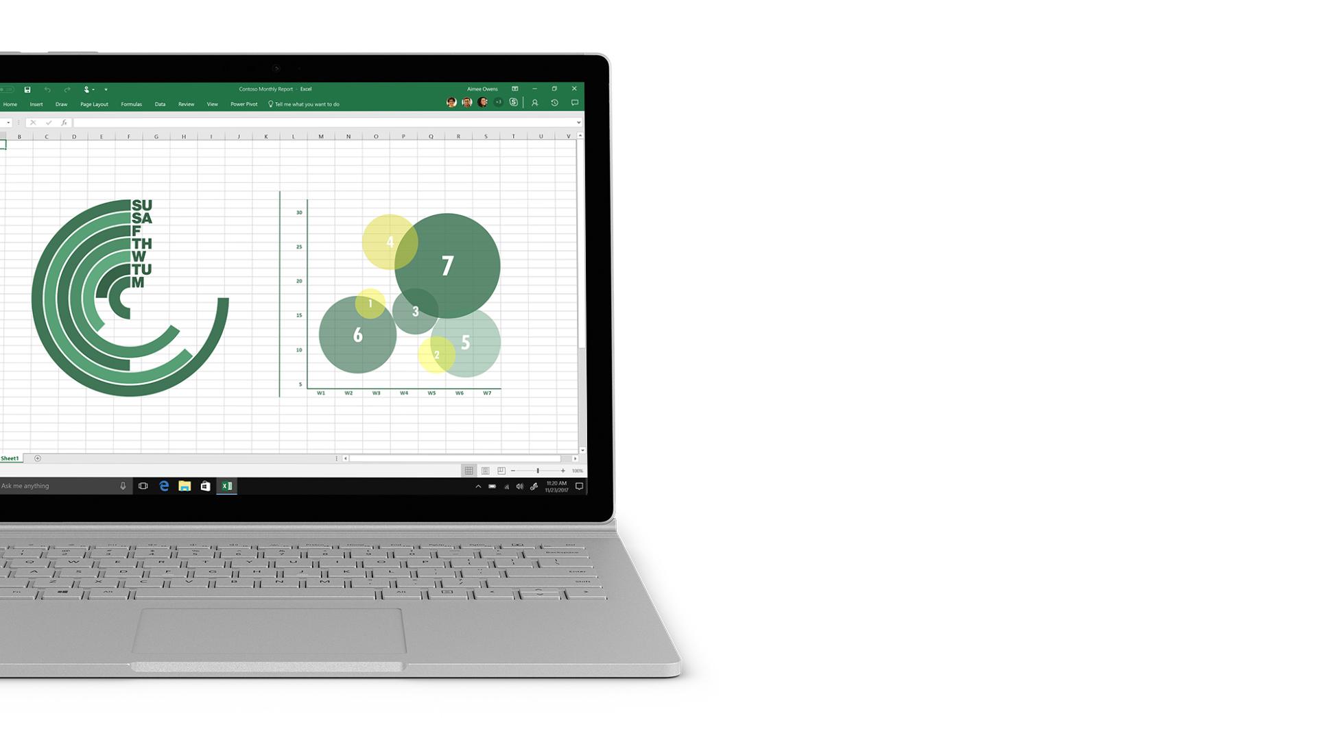 Excel-skärmbild på Surface.