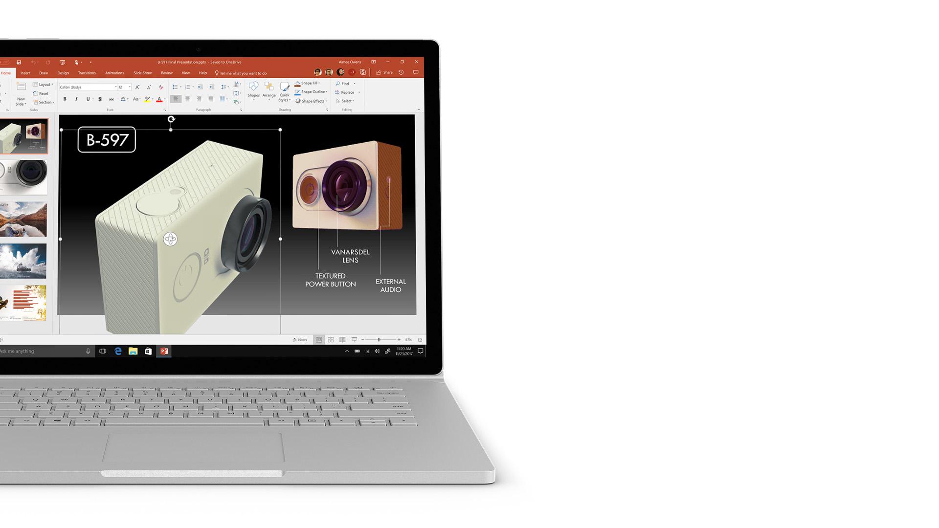 PowerPoint-skärmbild på Surface.