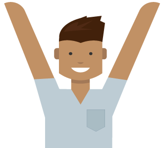 Man med händerna högt, upptäck alla fördelar med ditt Microsoft-konto