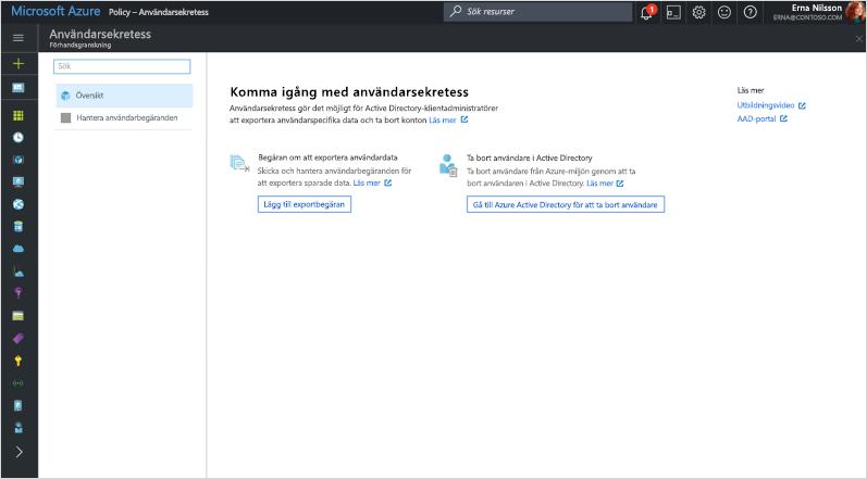 """Skärmbild av """"Kom igång med användarsekretess"""" i Azure Directory."""