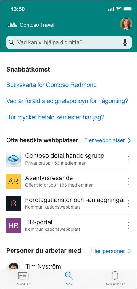 Den här bilden visar fliken Sök – finns snart i SharePoint-mobilappen – där du kan söka efter personer, innehåll och svar på frågor när du är iväg från kontoret.