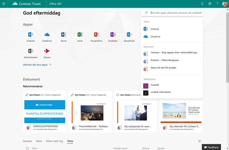 Skärmbild som visar nya Office.com.