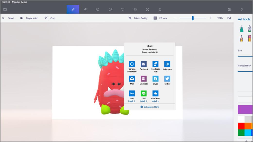 : Açık Paylaşma ekranı ile Paint 3D