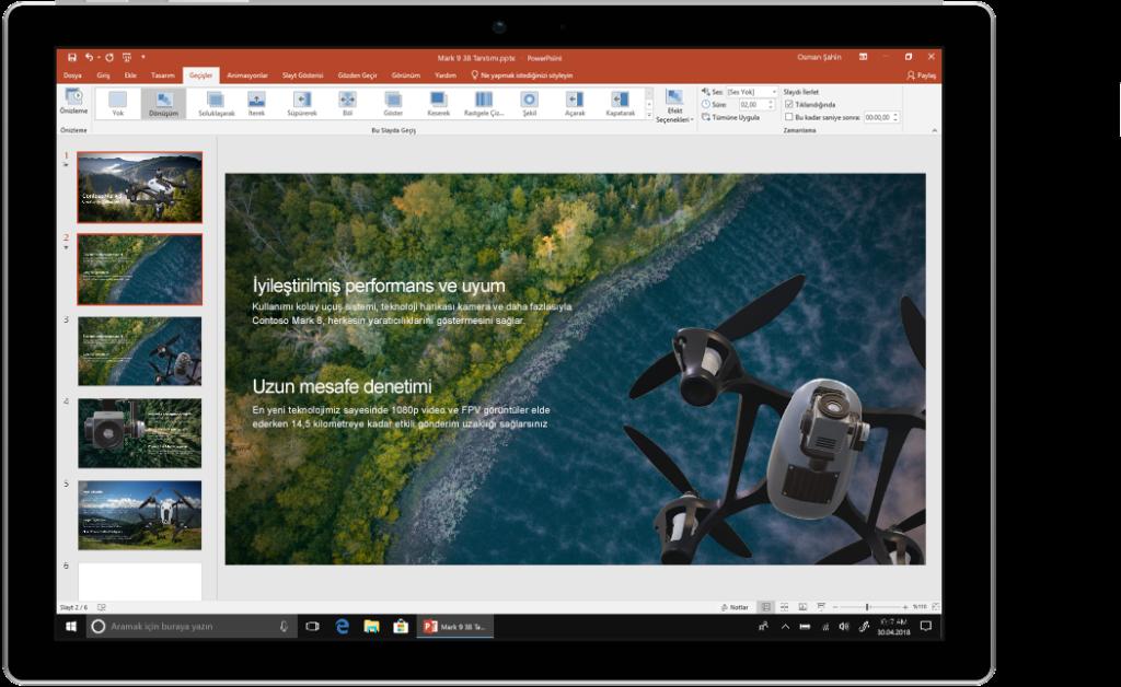 Office 2019'da PowerPoint kullanýlan bir cihazý gösteren resim.