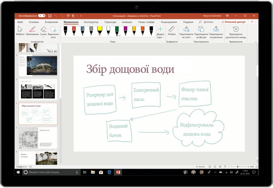 Анімований знімок екрана, де рукописні фрагменти перетворюються на текст у PowerPoint.