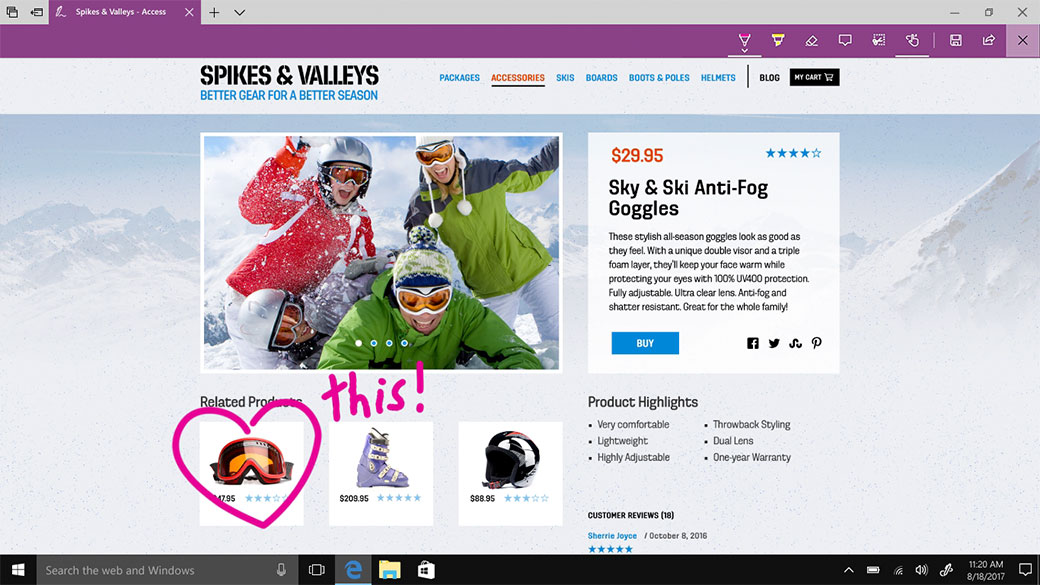 Microsoft Edge với tính năng viết tay, ghi chú và chia sẻ