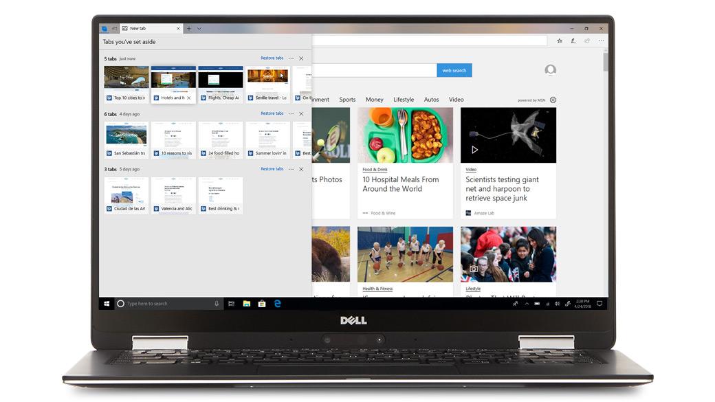 Dell 计算机显示 Microsoft Edge 浏览器中的多个浏览器选项卡
