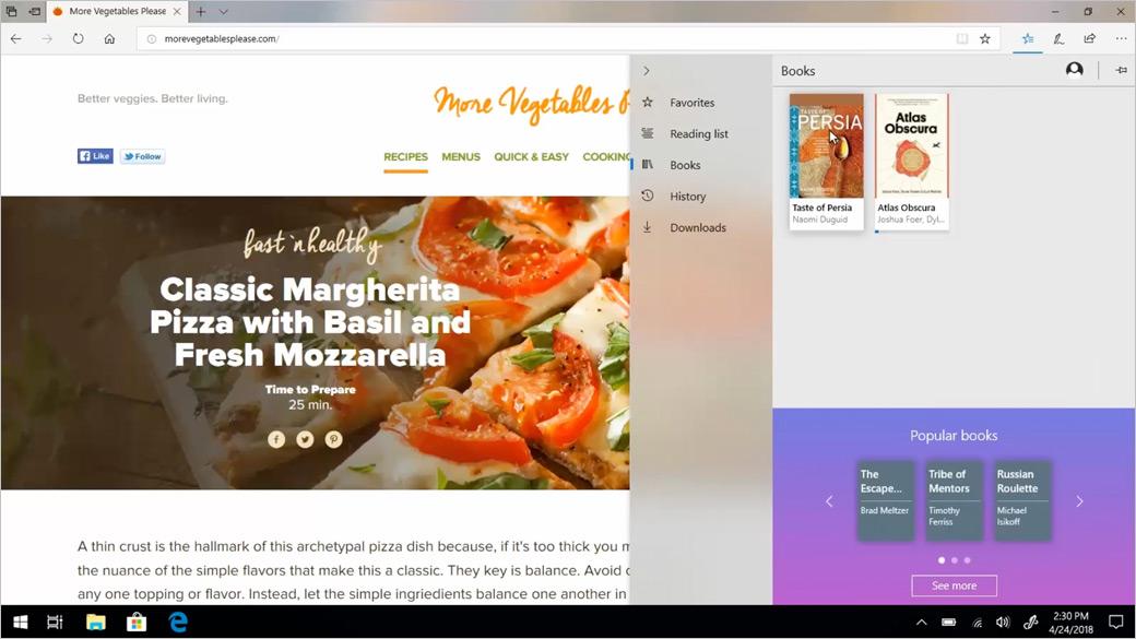 Microsoft Edge 浏览器窗口显示书籍功能
