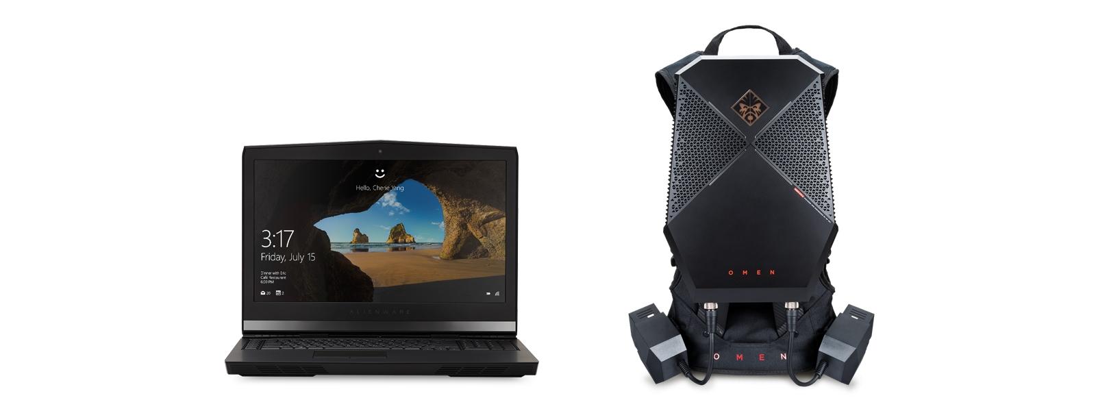 Dell Alienware 17 R4 的正面视图和 HP OMEN 的正面视图。