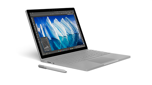 处于笔记本电脑模式的 Surface Book 的侧面视角。