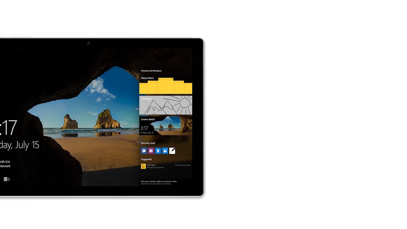 屏幕右侧上照亮了 Windows Ink 工作区的 Surface Pro 4 锁屏界面。