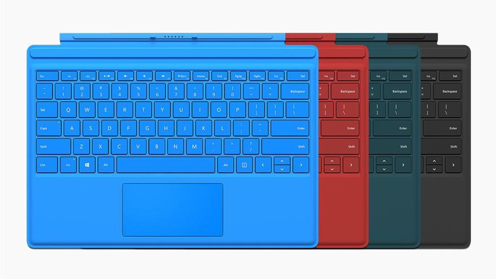 Surface Pro 4 键盘盖有多种颜色。