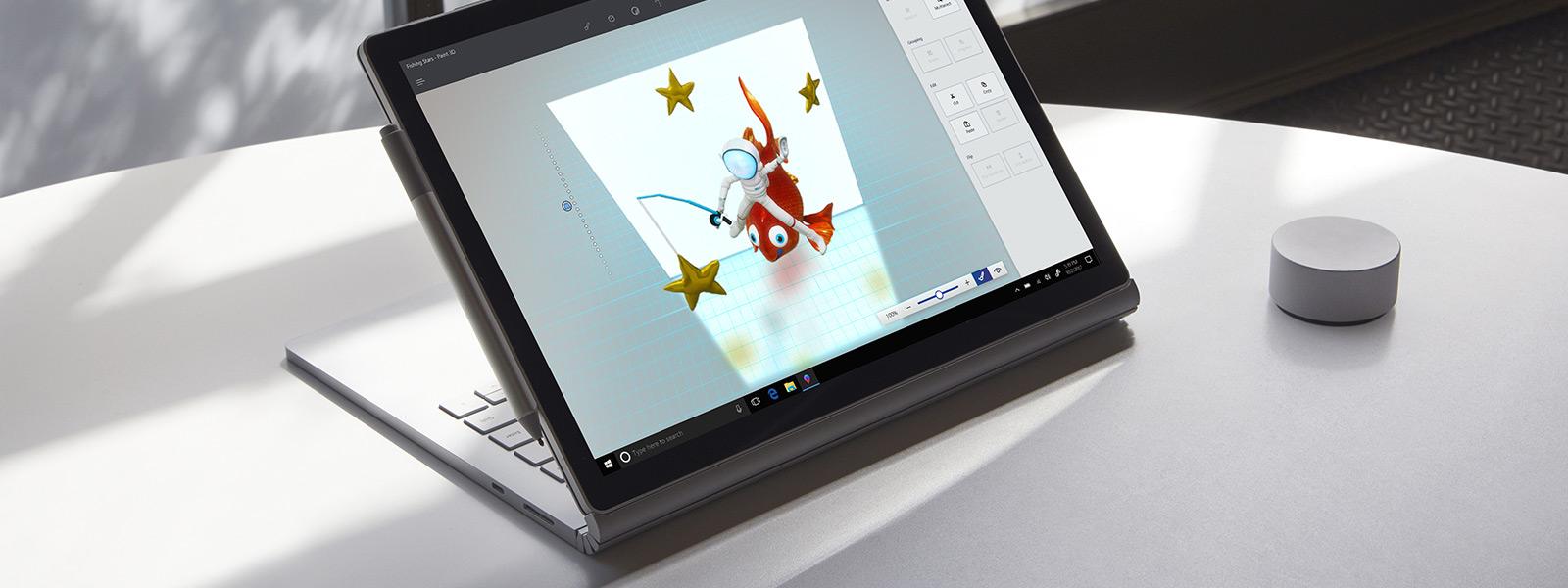 使用 Surface 触控笔在 Paint 3D 中书写墨迹