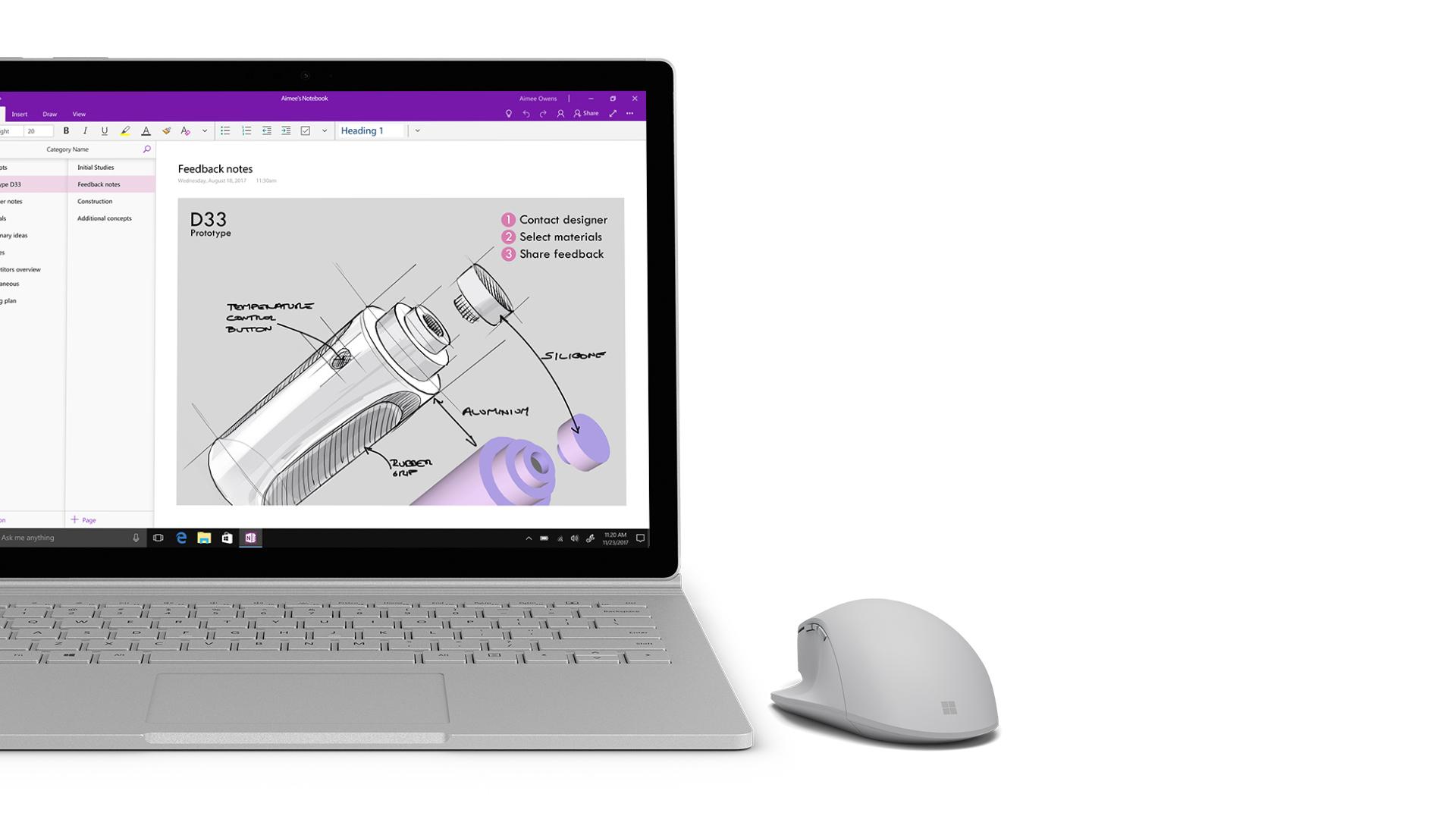 Surface 显示 OneNote 屏幕截图。
