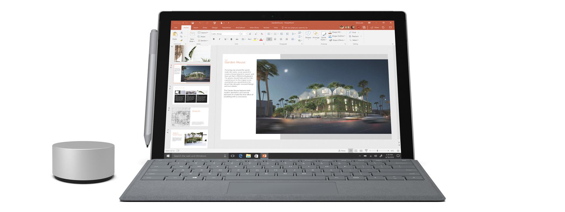 带特制版专业键盘盖、Surface 触控笔和 Surface Dial 的 Surface Pro