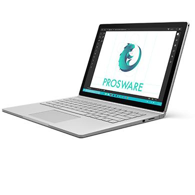 屏幕上正显示公司演示文稿的 Surface Book 的侧面视角。