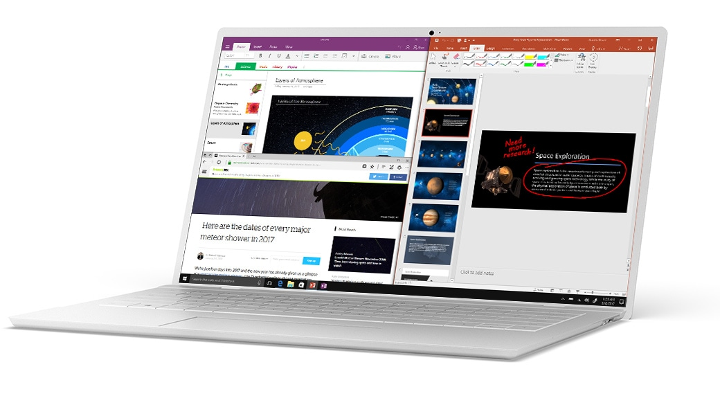 Microsoft Edge、OneNote 和 PowerPoint 通过 Windows 10 贴靠功能分屏显示