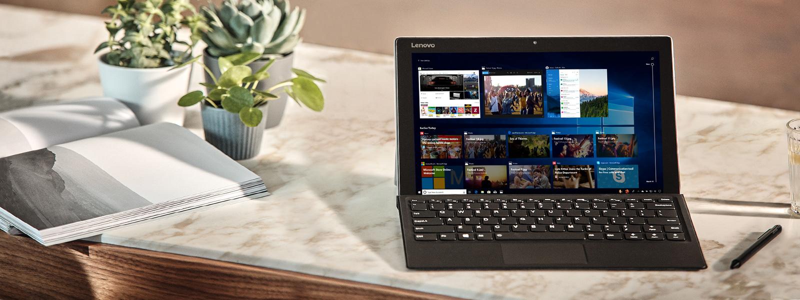 电脑屏幕上显示 Windows 10 2018 年 4 月更新的功能