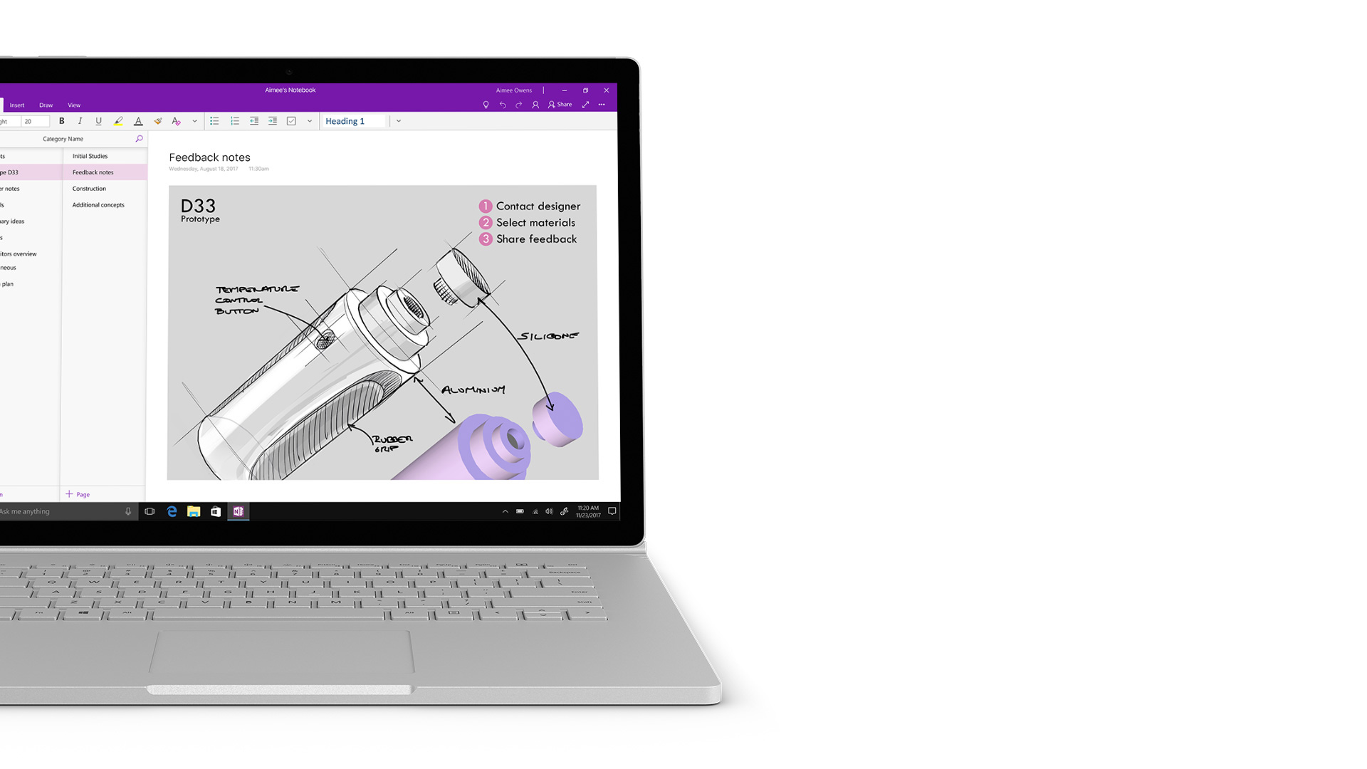Surface 上的 OneNote 螢幕擷取畫面。