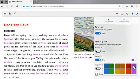 透過「文法工具」,Microsoft Edge 瀏覽器顯示自訂顏色,做為詞類識別之用。