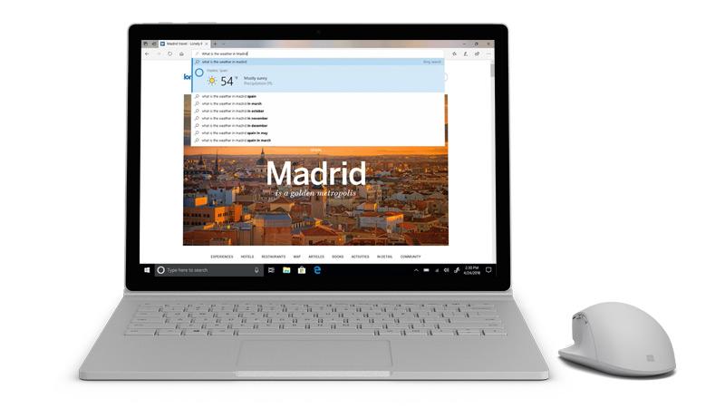 Surface 上的 Microsoft edge 螢幕擷取畫面。