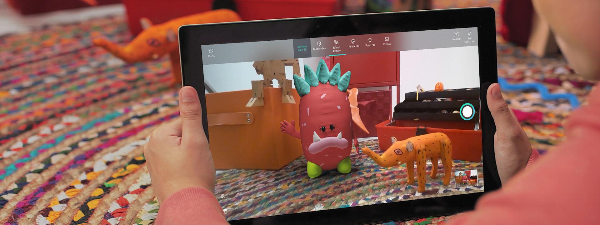 平板電腦以混合實境檢視器顯示 3D 創作